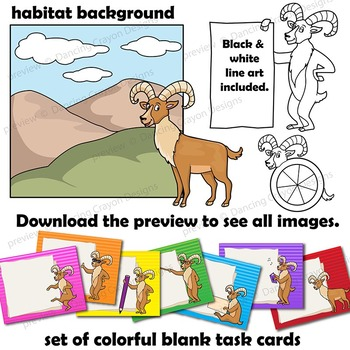 Urial (Wild Sheep) Clip Art with Signs - Letter U in Alphabet Animal Series