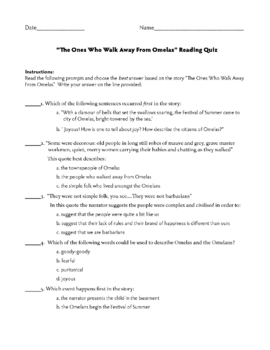 "Ursula K. LeGuin ""The Ones Who Walk Away From Omelas"" Reading Quiz"