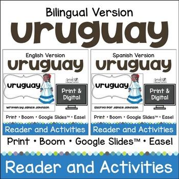 Uruguay Reader & vocab pages in English & Spanish {Bilingual version}