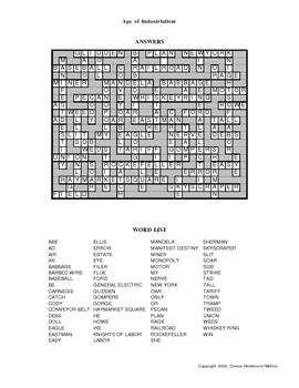 U.S. History -  Industrialism Crossword Puzzle