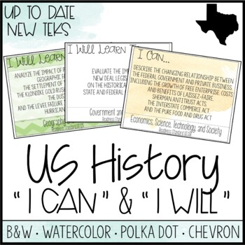 "High School US History TEKS  - ""I Can"" Statements / ""I Will Learn To"" Posters"