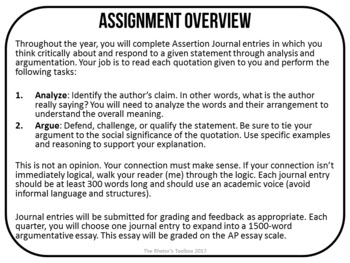 Us and Them: Assertion Journal Prompts for Analysis & Argument