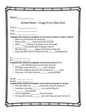 Usage Errors Guided Notes