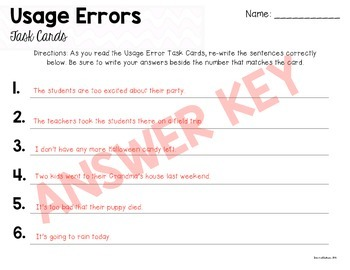 Usage Errors Task Cards