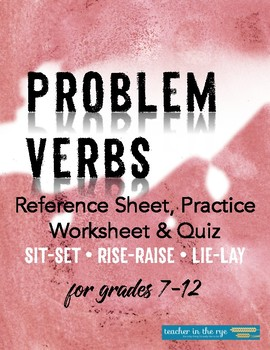 Usage: Problem Verbs Practice Worksheet, Quiz, and Reference Sheet!