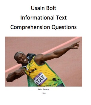Usain Bolt Informational Text and Comprehensive Questions