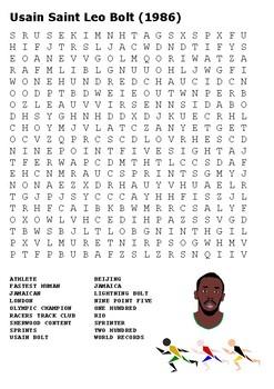 Usain Bolt Word Search