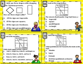 3.6B Use Attributes to Identify Quadrilaterals Computation Task Cards STAAR