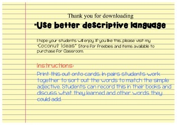 Use Better Descriptive language!!- Synonyms