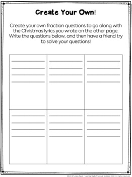 Christmas Fraction Practice - Math and Reading Integration Using Christmas Songs