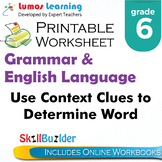 Use Context Clue to Determine Word Meaning Printable Worksheet, Grade 6
