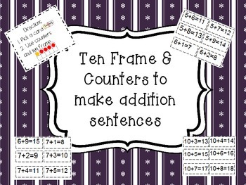 Use Counters and Ten Frame to Make Addition Sentences