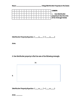 Use Distributive Property to find the Area of rectangles