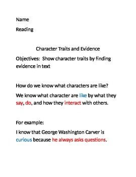"""Use Evidence to Explain Character Traits:  """"A Weed is a Flower"""""""