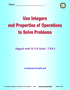 Use Integers and Properties of Operations to Solve Problem