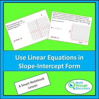Algebra:  Use Linear Equations in Slope-Intercept Form