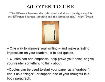 using quotes in writing