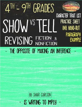 Use SHOW vs TELL to Revise a Narrative