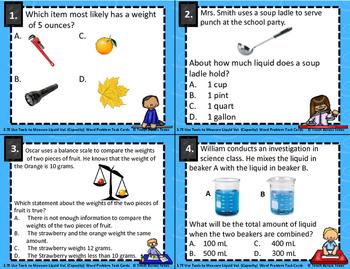 3.7E Use Tools to Measure Liquid Vol. Capacity  Word Problem Task Cards