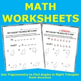 Use Trigonometry to Find Angles in Right Triangles Riddle Worksheet