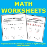 Use Trigonometry to Find Lengths of Sides in Right Triangles Riddle Worksheet