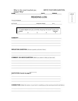 Use With Any Book:Log and Reflection Questions for Independent Reading