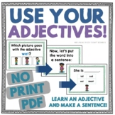 Use Your Adjectives! Put Adjectives into Sentence Frames!