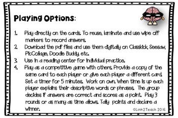 Use Your Noggin: Using Descriptive Words Halloween Edition Task Card Game