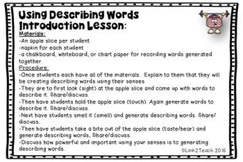 Use Your Noggin: Using Descriptive Words Task Card Game