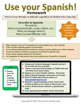 Use Your Spanish! Homework - Real World Language Application