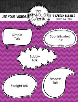 Speech Bubbles {Digital Clip Art for Commercial Use}