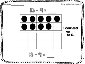 Use a 10 to Subtract Worksheets for Go Math Lesson 4.4