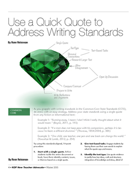 Use a Quick Quote to Address Writing Standards