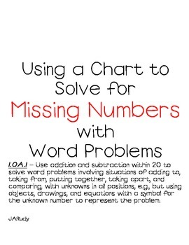 Use a chart to solve for Missing numbers