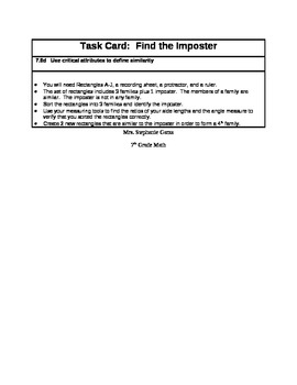Use critical attributes to define similarity Group Work or Math Center Booklet