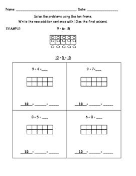 Use make a ten as a strategy to find sums within 20, Go Math! Lesson 3.8-3.9