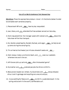 Use of I or Me in Sentences Test with Detailed Answer Key