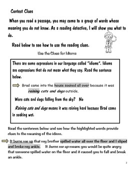 Gr. 2-5: Use the Clues- Context Clues- for Meanings of Idioms
