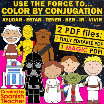 Use the Force to COLOR BY CONJUGATION – EDITABLE MAGIC PDF!