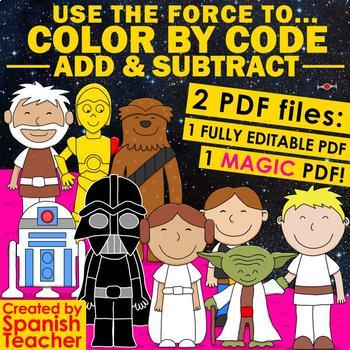 USE THE FORCE to Color by Code – Add and Subtract