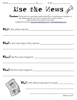 photo about Current Events Worksheet Printable identified as Employ the Information - Recent Situations Short article Worksheet/Research