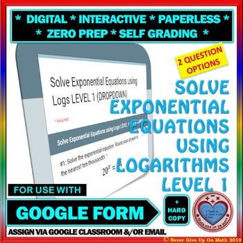 Use with Google Forms: Solve Exponential Equations Level 1 Quiz or Homework