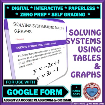 Use with Google Forms: Solve Systems using Tables & Graphs Quiz or Hw