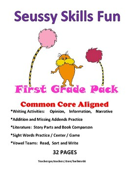Use with Seuss First Grade Skills Pack: 32 pg ELA and Math:  Common Core Aligned