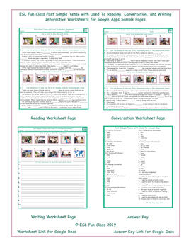 Used To Read-Converse-Write Interactive Worksheets for Google Apps