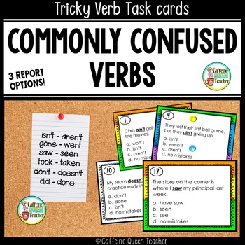 Verbs Task Cards Focusing on Commonly Confused Verbs