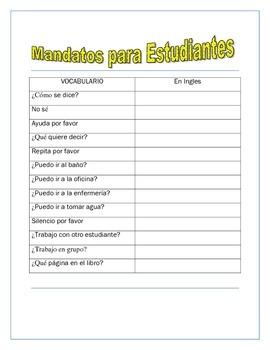 Mandatos de la Clase- Have fun with TPR Classroom Commands-Spanish I & II