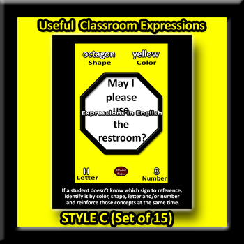 English Classroom Expressions Posters Set
