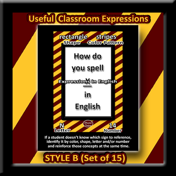 Useful English Expressions for Class Posters - Style B