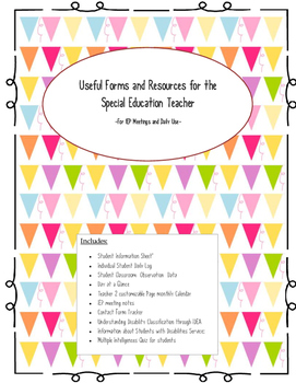 Useful Forms For Special Education Teachers/ Providers